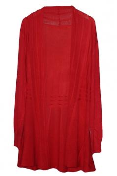 Red Long Sleeve Charming Womens Plain Cardigan Sweater