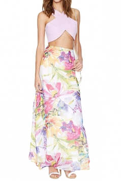 Yellow Floral Printed Elegant Ladies Maxi Skirt