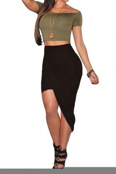 Black Irregularly Pleated High Waisted Ladies Midi Skirt