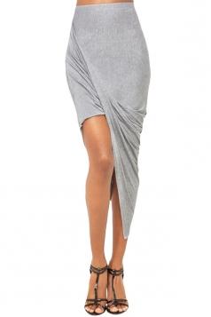 Gray Irregularly Pleated High Waisted Ladies Midi Skirt