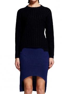 Blue Plain High Low Fashion Womens Midi Skirt