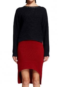 Red Plain High Low Fashion Womens Midi Skirt