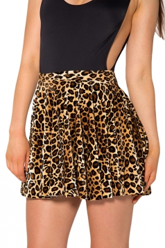 Brown Leopard Printed Chic Womens Pleated Skirt