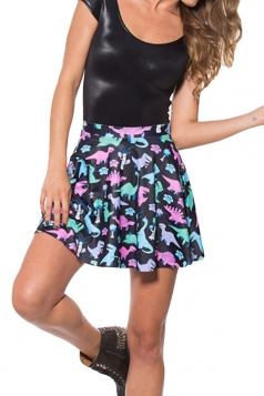 Black Dinosaur Printed Chic Womens Pleated Skirt