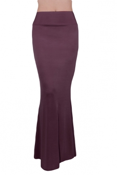 Purple Plain High Waisted Slimming Sexy Ladies Maxi Skirt