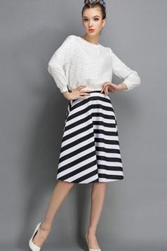 White Stripes A Line Chic Simple Ladies Mini Skirt