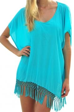 Blue Fringe Plain Sexy Charming Ladies Beach Dress