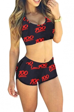 Red 100 scores Printed Bikini Top & Chic Swimwear Bottom