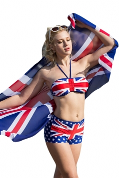 Blue Halter Union Jack Bikini Top&Sexy Swimwear Bottom&Chic Shawl