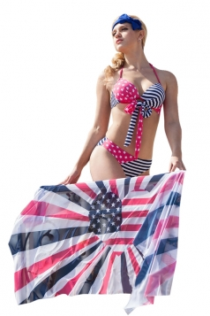 Red Stars and Stripes Flag Bikini Top&Sexy Swimwear Bottom&Chic Shawl