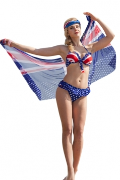Blue Ruffle American Flag Bikini Top&Charming Swimwear Bottom&Shawl