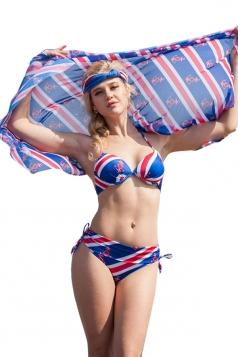 Blue Halter Flag Bikini Top&Charming Swimwear Bottom&Chic Shawl