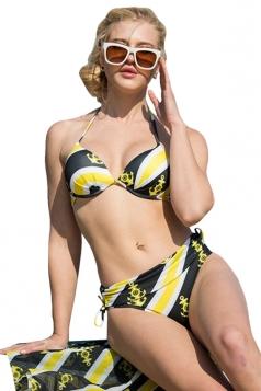 Yellow Halter Flag Bikini Top&Charming Swimwear Bottom&Chic Shawl
