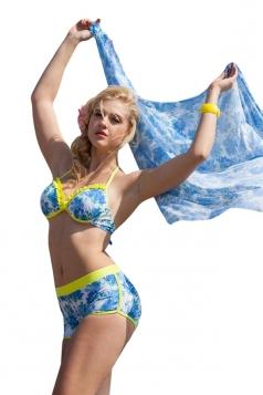 Blue Ruffle Floral Printed Bikini Top&Sexy Swimwear Bottom&Chic Shawl