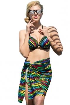 Blue Ruffle Zebra Printed Bikini Top&Sexy Swimwear Bottom&Chic Shawl