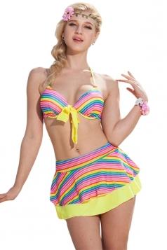 Yellow Striped Halter Bikini Top& Chic Skirted Swimwear Bottom