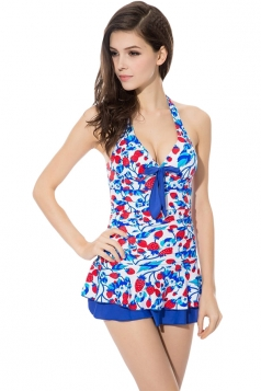 Blue Halter Strawberry Printed Sexy Womens Skirted Swimsuit
