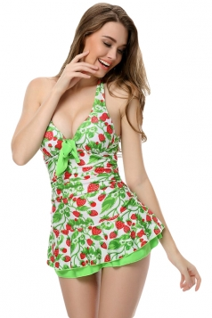 Green Halter Strawberry Printed Sexy Womens Skirted Swimsuit