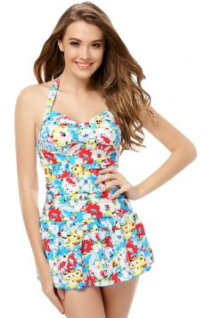 Blue Halter Floral Printed Sexy Womens Skirted Swimsuit