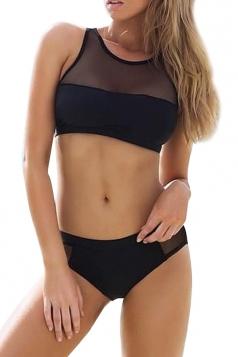 Black Mesh Patchwork Sheer Bikini Top & Sexy Swimwear Bottom