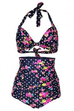 Navy Blue Halter Floral Bikini Top & High Waisted Swimwear Bottom