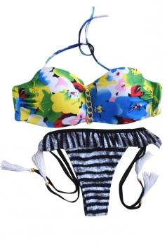 Black Striped Swimwear Top&Swimwear Bottom