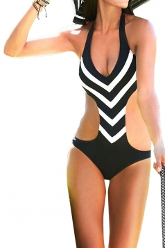 Black Halter Cut Out Striped Sexy Chic Ladies Monokini