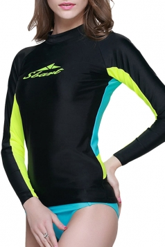 Black Long Sleeve Color Blocking Chic Womens Diving Suit