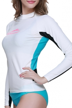 White Long Sleeve Color Blocking Chic Womens Diving Suit