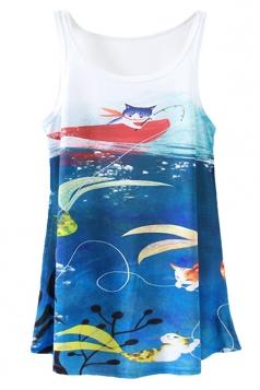 Blue Ladies Cat Printed Loose Tank Top