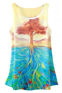 Blue Ladies Tree Printed Loose Tank Top