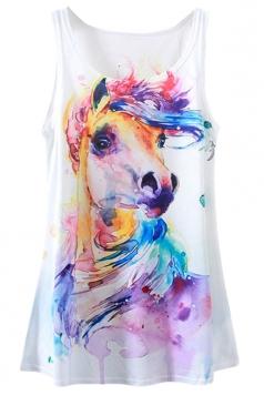 White Ladies Horse Printed Loose Tank Top