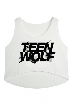 White Teen Wolf Printed High Low Casual Womens Crop Top