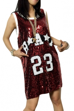 Red Number Printed Sequined Casual Womens Tank Dress