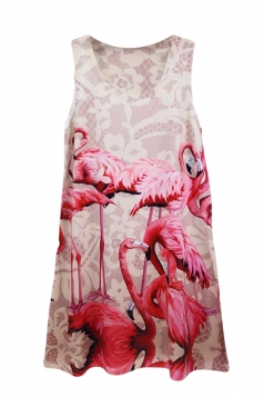 Pink Crew Neck Flamingo Printed Chic Womens Tank Top
