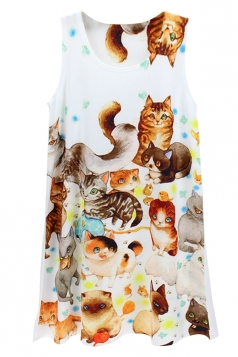 White Crew Neck Little Cats Printed Chic Womens Tank Top