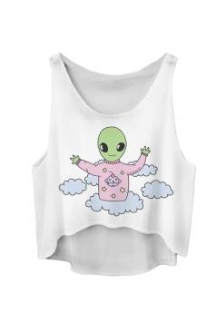 White Ladies Cute Baby Printed Loose Crop Top