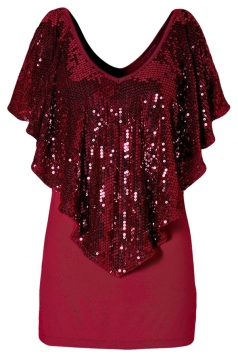 Ruby Sequined Ruffle Cape Sleeve Chic Womens Tee Shirt