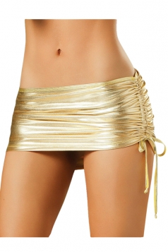 Gold Liquid Patent Leather Sexy Ladies Mini Skirt