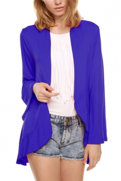 Navy Blue Plain Flare Sleeve Irregular Casual Womens Blazer
