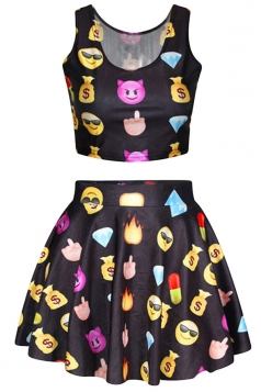 Black Chic Emoji Printed Skater Skirt Suits