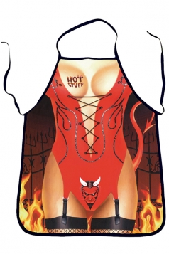 Red Cute Evil Printed Lovers Apron