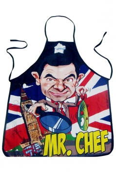 Red Cute Mr Chef Printed Lovers Apron
