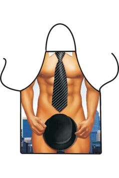 Brown Cute Muscle Man Printed Lovers Apron
