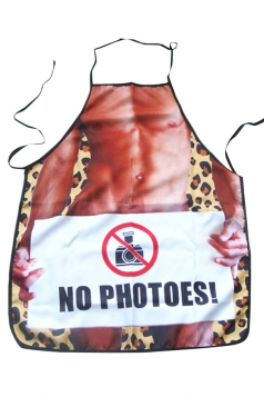 Pink Cute Muscle Man Printed Lovers Apron
