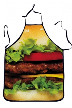 Green Cute Hamburger Printed Lovers Apron