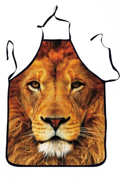 Brown Cute Lion Printed Lovers Apron