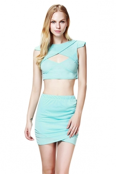 Blue Sexy Crop Cut Out Ladies Clubwear Skirt Suit
