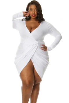 Womens Sexy Deep V Neck Ruched Long Sleeve Plus Size Dress White