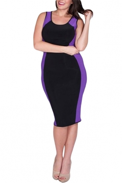 Purple Ladies High Low Plus Size Clubwear Dress